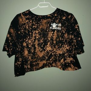 Bleach Dyed Cropped T-shirt
